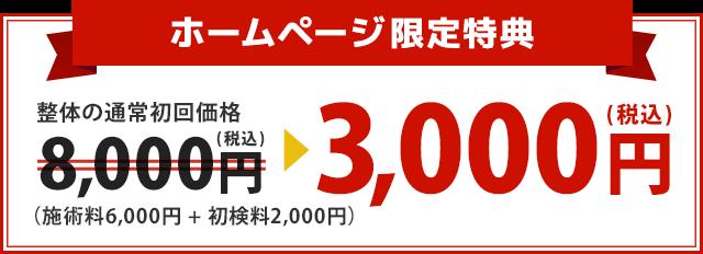 整体の通常初回価格8,000円が3,000円に!